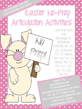 Easter NO PREP Speech Therapy Articulation Packet! Just Pr
