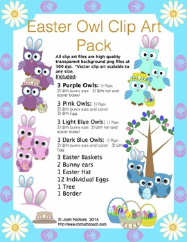 Easter Owl and More Clip Art Pack!  Clipart Owls