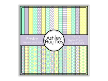 Easter Paper Collection {12x12 Digital Papers for Commercial Use}