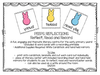 Easter Peep's Literacy Reflection Activity/Literacy Centre
