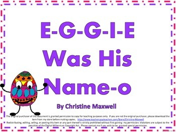 Easter Song And Posters E-G-G-I-E Was His Name-O