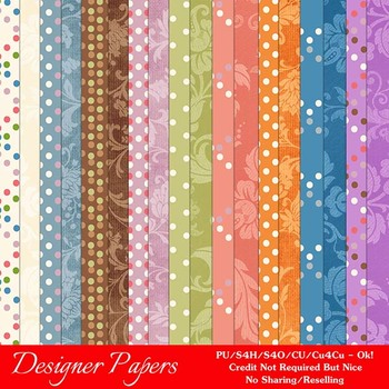Easter Splash 2 A4 size Digital Papers (Dots/Floral)