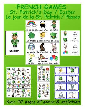 """Easter / St. Patrick's Day """"Combo"""" FRENCH Workbook & Games"""