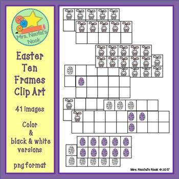 Easter Ten Frames Clip Art