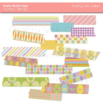 Easter Theme Washi Tape Digital Clipart - 16 High Res Wash