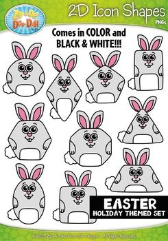Easter Themed 2D Icon Shapes Clipart Set — Includes 20 Graphics!