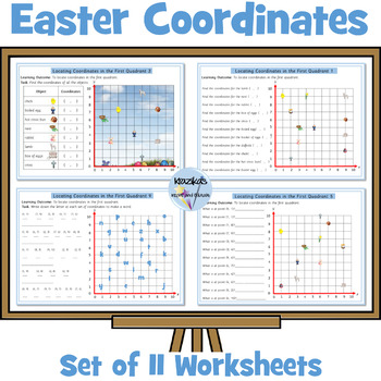 Easter Themed Coordinates in the First Quadrant 10 Differe