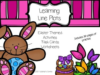 Easter Themed Line Plot Math Activities, Task Cards and Wo