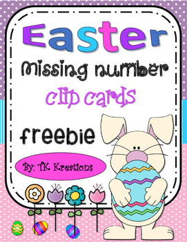 Easter Themed Missing Number Clip Cards Intervention Freebie