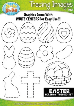 Easter Themed Tracing Image Clipart Set — Includes 15 Graphics!