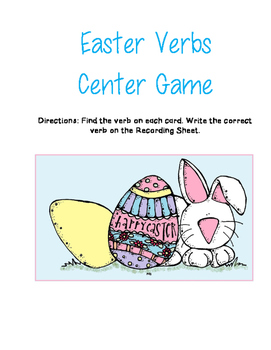 Easter Activity Easter Themed Verbs Center Game