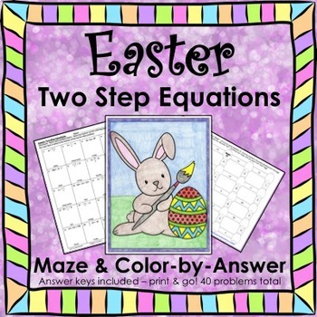 Easter Spring Two Step Equations Maze & Color by Number Bundle