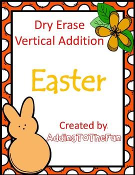 Easter ~ Vertical Addition Dry Erase Cards