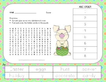 Easter Vocabulary Word Search wih Easter ABC Order