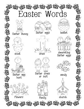 Easter Word Wall for Daily 5 Writing Portfolios / Journals