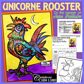 Easter Art Activity and Lesson for Kids: Unicorn Rooster f