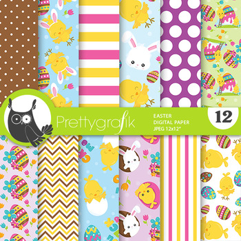 Easter chick papers, commercial use, scrapbook papers - PS784