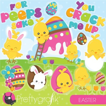 Easter chicks clipart commercial use, vector graphics, dig