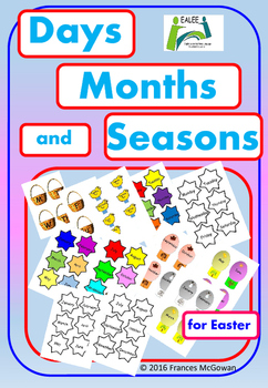 Easter chicks, eggs, stars and words days months and seasons