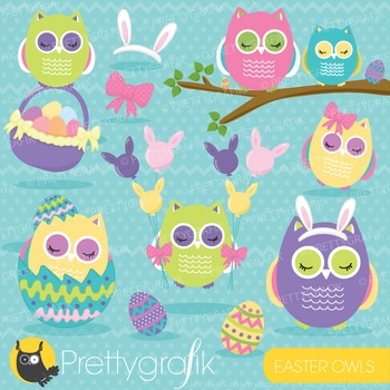 Easter owl clipart commercial use, vector graphics, digita
