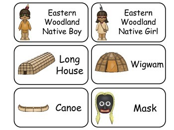 Eastern and Plains Native American themed Picture Word Fla