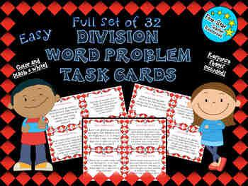Full Set--Easy Division Word Problem Task Cards