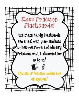 Easy Fractions Flashcards 1 (Set of 20 flashcards w/Denomi