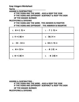 Easy Integers Worksheet