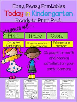 Easy, Peasy Printables: Today in Kindergarten Pack