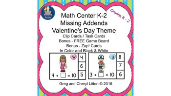 Easy Prep Math Center Missing Addends with a Valentine's D