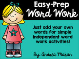 Easy Prep Word Work - No Prep Word Work
