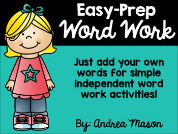Easy Prep Word Work - No Prep Word Work