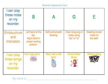 Easy Recorder Assessment Cards