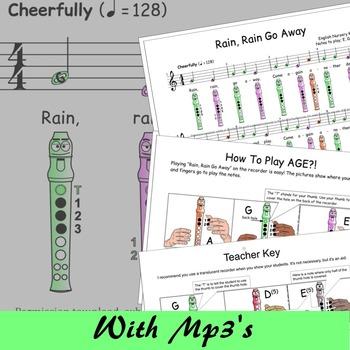 Recorder Music Easy - Rain Rain Go Away