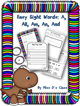 Easy Sight Words Printables: A, An, Am, All, And