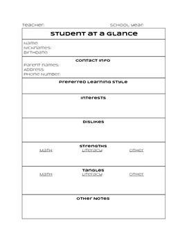 Student Profile Sheet for Differentiation