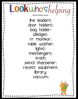 Easy and Cute Classroom Helpers Sheet