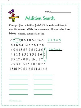 Easy math- addition search worksheets