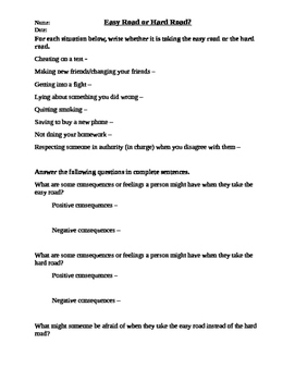 Easy or Hard Road Worksheet