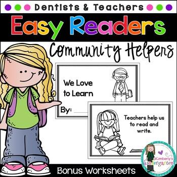 Easy/Emergent Readers! Community Helpers: Teachers & Denti