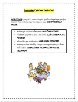 Eating Dinner Presentational Activity (Spanish or other ta