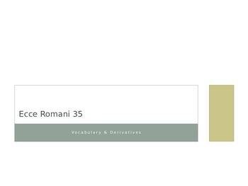 Ecce Romani Chapter 35 Vocabulary and Derivatives