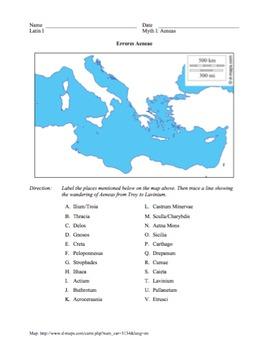 Ecce Romani: Myth I Worksheet: The Wandering of Aeneas