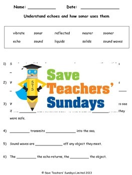 Echoes and Sonar Lesson plan and Worksheet