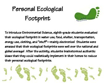 Ecological Footprint - Student Activity with Questionnaire