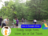 Ecology Google Form Exit Ticket or Warm Up Assessments