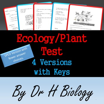 Science Test: Ecology and Plant - 4 Versions!