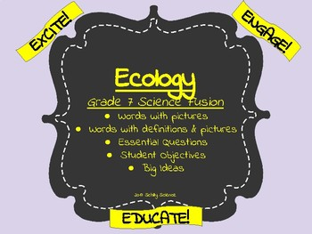 Ecology -Science Vocabulary Cards- Science Word Wall- Symb