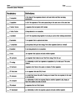 Assessment: Ecology Vocabulary Review/Quiz