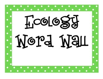Ecology Word Wall